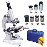 DLMPT Monokulares Mikroskop Mit 5X/10X/16X Okular Abbe Kondensator 1000X(1600X,2000X) Vergrößerung Mikroskop Anschließbares Elektronisches Okular,2000xa