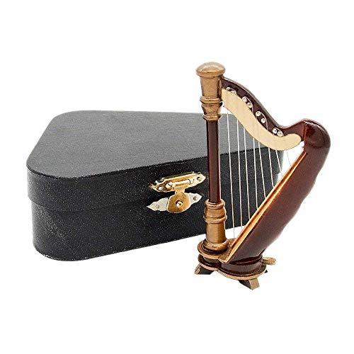 Odoria 1/12 Miniatur Harfe mit Koffer Für Musikinstrument Puppenhaus Dekoration Zubehör