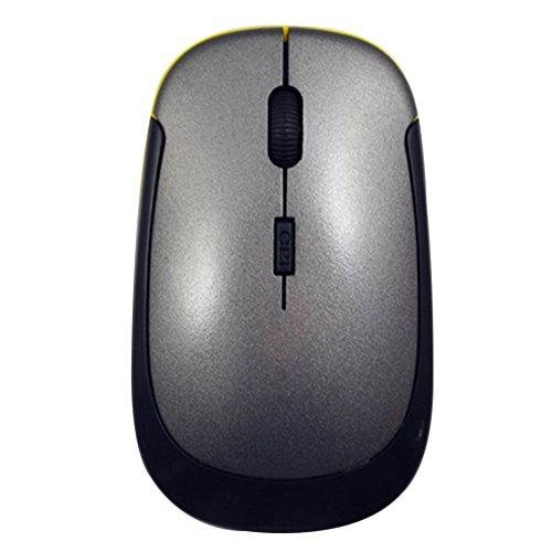 Konzepte Roten Teppich (Moonar® Ultra Slim u-forme 2.4GHz Maus kabellos Maus Gaming 1.600dpi Optical Mouse für PC Computer rot/grün/blau/schwarz/grau grau)