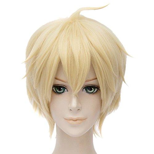 Blass Gold Kurze Gerade Perücken Hitzebeständig Blonde Anime Cosplay (Perücke Cosplay Blonde)