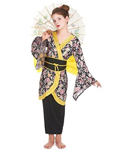 Japanerin Mädchenkostüm Geisha-Kostüm schwarz-gelb-bunt 140/152 (10-12 -