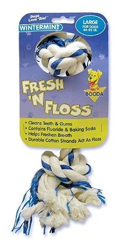 Booda Fresh N Floss 2 Knot Bone Rope Dog Toy, Large, Winter Mint