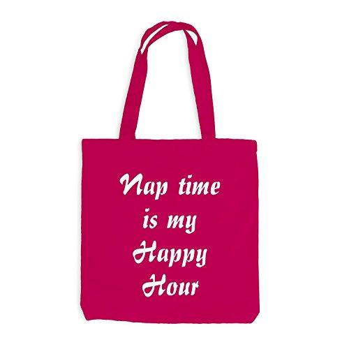 Jutebeutel - Nap Time is my Happy Hour - Schlafen Sleep Pink