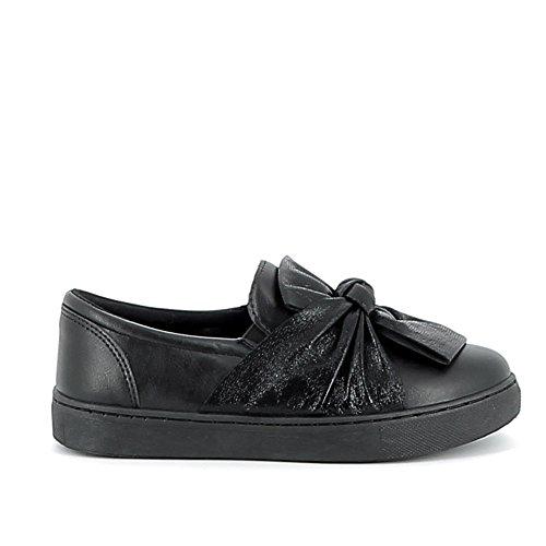 Slippers à noeud en tissus brillant Noir
