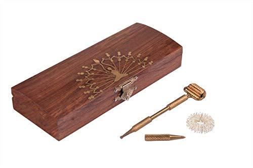 ressur-Werkzeugset mit Diagnosewalze, Messingsonde und Jimmy-Ring, verpackt in Palisander-Schachtel mit schönem Messing-Design für Massage- und Entspannungstherapie ()
