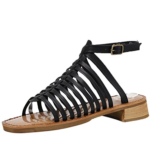 Azbro Women's Open Toe Buckle Strap Low Heels Gladiator Sandals Black