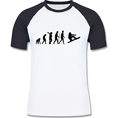 Evolution - Snowboard Evolution - zweifarbiges Baseballshirt für Männer Weiß/Navy Blau