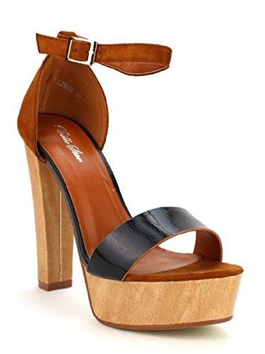 Cendriyon, Sandale MADY LOOKS Chaussures Femme Noir