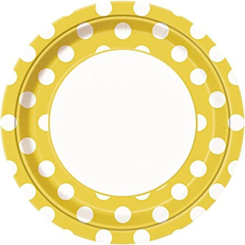23cm Yellow Polka Dot Party Plates, Pack of 8