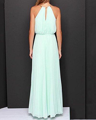 Damen Elegant Abendkleid Ärmellos Neckholder Elastisch Strap Brautjungfer Chiffon Faltenrock Lange Maxi Kleid Festkleider Partykleid Hellblau