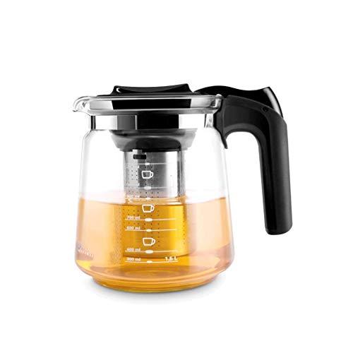 Met Love Théière, pot de jonquille, grande capacité, résistant à la chaleur, théière en verre, matériau de qualité alimentaire en PP filtre en acier inoxydable, poignée épaisse, verre dur de haute ten