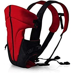 FEMOR Mochila Portabebé Ergonómico Multifuncional 3 en 1 Suave Ajustable Portadores para Infantil del Bebé Recién Nacido (Negro+Rojo)