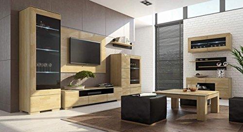 """TV-Schrank """"Lipik"""" 11, Farbe: Eiche / Schwarz, teilmassiv – Abmessungen: 122 x 38 x 50 cm (B x H x T) - 3"""