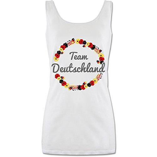 Shirtracer Fußball-Europameisterschaft 2020 - WM Team Deutschland Blumen - M - Weiß - P72 - lang-geschnittenes Tanktop für Damen