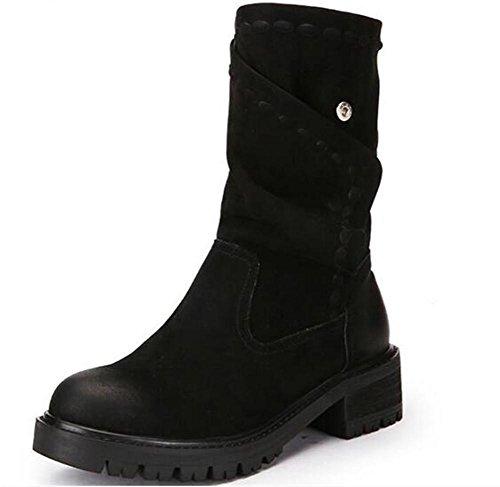 Scarpe da donna Inverno in pelle nabuk Casual piatto Retro Martin Stivali da equitazione Colori misti Size35To39 Black