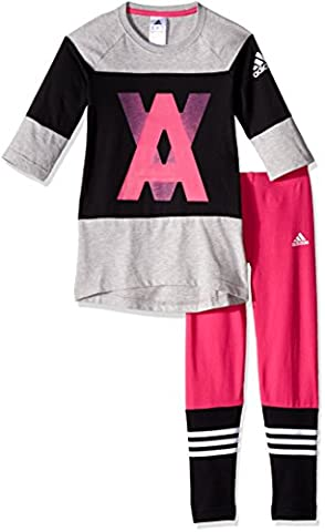 adidas Mädchen Leggings YG S Tights SET, Rosa/Grau, 128,