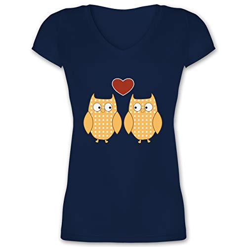 Eulen, Füchse & Co. - Verliebte Eulen Pärchen Herz - 3XL - Dunkelblau - XO1525 - Damen T-Shirt mit V-Ausschnitt