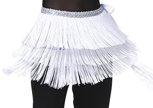 Hip Schal für Bauchtanz und Latin Dance mit Fransen und Pailletten für Damen (Aqua Tanz Kostüm)