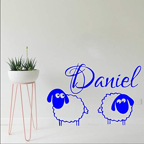 WWYJN Nursery Name Wall Sticker for Kids Rooms Two Lovely Sheep Mutton with Personalized Name Wall Decal Boy Baby Bedroom Decor57X90CM