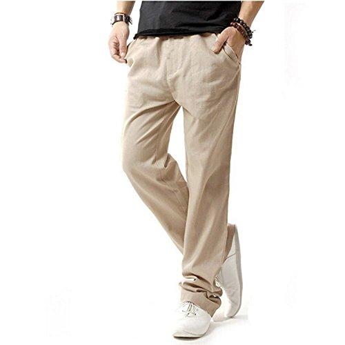 Minetom Veste en jean lin Pantalons de Plage Casual Pantalons Pour Hommes, Garçons Pantalons été Beige
