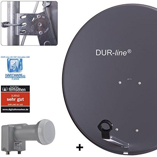 DUR-line MDA 80 Anthrazit - Digiatale 5 Teilnehmer Satellitenschüssel Komplett-Anlage mit UK 102 - Unicable LNB [Camping, Astra 19,2°, DVB-S/S2, Full HD, 4K, 3D]