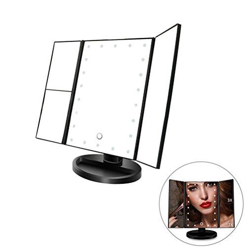 Einstellbare Zähler (Frcolor 21 beleuchtete LED Touchscreen 1x / 2x / 3-facher Vergrößerung und USB-Lade 180 ° einstellbare Unterstützung für Make-up-Zähler nach oben (schwarz))
