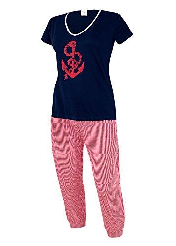 Damen Schlafanzug kurz Capri Hose 3/4 Damen Pyjama kurz Damen Nachthemd kurz aus 100% Baumwolle softweich Gr. S M L XL (XL/48-50, oberteil marine mit Motivdruck / short capri 3/4 weiß-rot) (Capri-pyjama-hose)