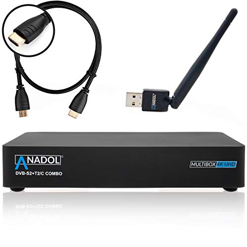 Anadol Multibox 4K UHD E2 Linux Combo Sat- Kabel- DVB-T2 Receiver mit DVB-S2 und DVB-C/T2 Tuner, HDTV, 2160p, H.265, PVR, HDR, mit HDMI Kabel [vorprogrammiert für Astra & Hotbird] inkl. WLAN Stick