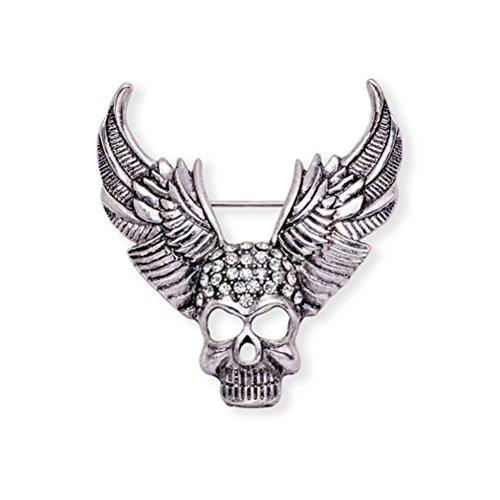 LUOEM Schädel Bones Brosche Kristall Gothic Punk Breastpin für das Kostüm Abendkleid (Silber) (Alten Kostüm Broschen)