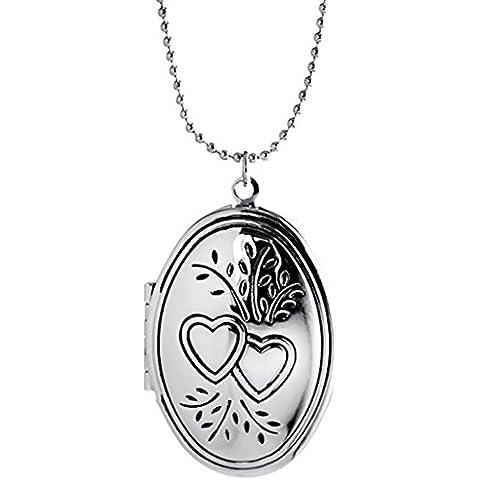 Locket collane del pendente che tengono Immagini fascino filigrana inciso medaglione ovale per le donne gli