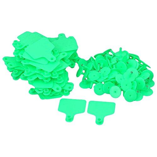 xingbailong Universal-Ohrmarke für Rinder, ohne Wörter, Kunststoff, 100 Stück, Grün