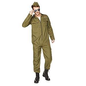 Karnival Costumes- Fighter Pilot Disfraz, Color verde, extra-large (82043)