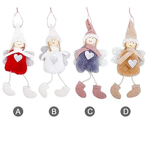 (Kalolary Weihnachten Puppe hängende Engel, 4 Pack niedlichen Engel Plüsch Puppe Weihnachtsbaum Tür Wand hängenden Dekoration Haus Ornamente für Terrasse Rasen Garten Party Urlaub Geschenk)