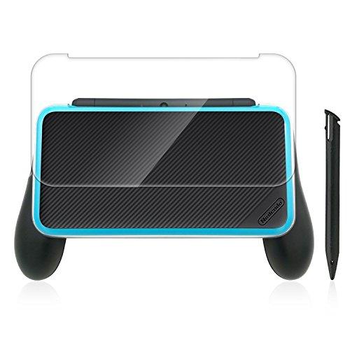 HEYSTOP Neuer Nintendo 2DS XL Griff (aktualisierte Version) Griff mit Crystal Case + Kunststoff Stylus Pen für Nintendo NEW 2DS LL Konsole (Schwarz)