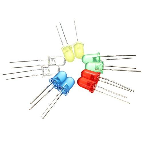 Preisvergleich Produktbild 100x 5mm runden LED Leuchtdioden 5 Farben(20er Jede Farbe)