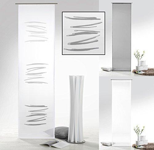 fashion and joy Flächenvorhang mit Farbverlauf in anthrazit grau Abstrakt inkl. Zubehör HxB 245x60 cm - Schiebegardine halbtransparent Modern Chic Gardine Typ415