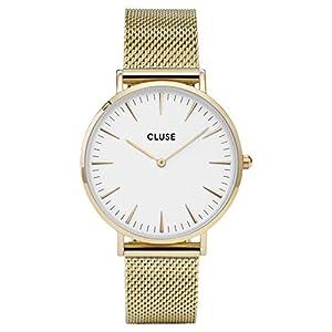 Cluse Damen Armbanduhr Analog Quarz Edelstahl, gold/weiß, CL18109