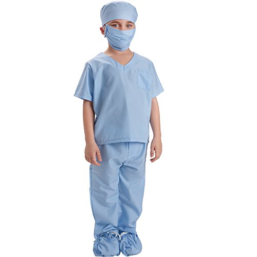 Dress Up America Blau Kinder Arzt Scrubs Kostüm Kinder Arzt Scrubs Rollenspiel Outfit (Outfit Arzt Kinder)