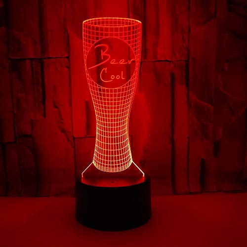 3D lamp, new, beer mug, colorful 3d table lamp, desk decoration, remote control, remote control, night light 3D