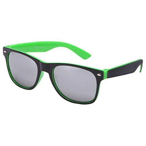 Ciffre Nerdbrille Sonnenbrille Stil Brille Pilotenbrille Vintage Look Schwarz Neon Grün Silber verspiegelt