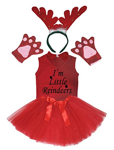 Petitebelle 3D Little Reindeer Red Headband Gloves Tutu Shirt 6pc Girl Costume (1-2 Years)