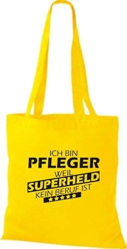 Shirtstown Stoffbeutel Ich bin Pfleger, weil Superheld kein Beruf ist gelb