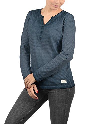 DESIRES Karina Damen Longsleeve Langarmshirt Shirt Mit Rundhalsausschnitt Und Knopfleiste Aus 100% Baumwolle, Größe:L, Farbe:Insignia Blue (1991)