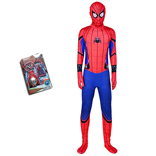 Spider-Man One Piece Strumpfhosen Kinder Halloween Cosplay Hero Returns Boy Kleidung Requisiten 3-8 Jahre Alt,90-100cm-Red