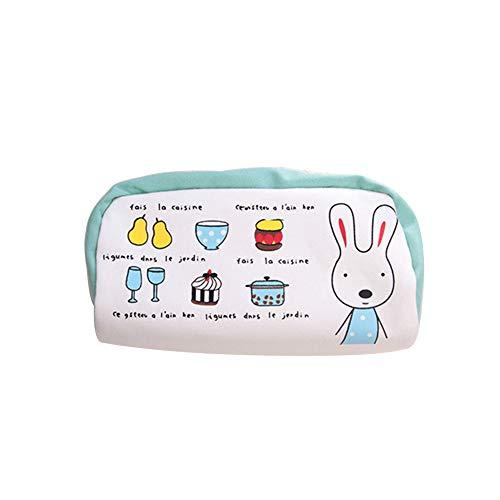 qinlee Kaninchen Muster Bleistift Fall tragbar Schlüsseltasche Leinwand Stationery Tasche mit Reißverschluss 18cm*8cm*9cm weiß (Bleistift Leinwand Weiße Fall)