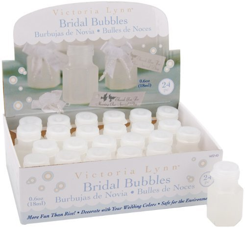 Darice Wedding Bubbles 24-Piece,1/2-Ounce Bottles Box Party-Zubehör, farblos, Pack of 24, 3 -
