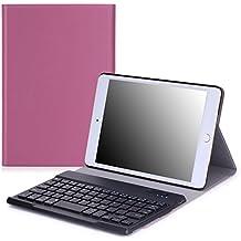 MoKo iPad Mini 4 Funda - Wireless Bluetooth Keyboard Case con PU Cuero Teclado Inalánbrico QWERTY Layout Para Apple iPad Mini 4 7.9 Pulgadas 2015 Tableta, VIOLETA