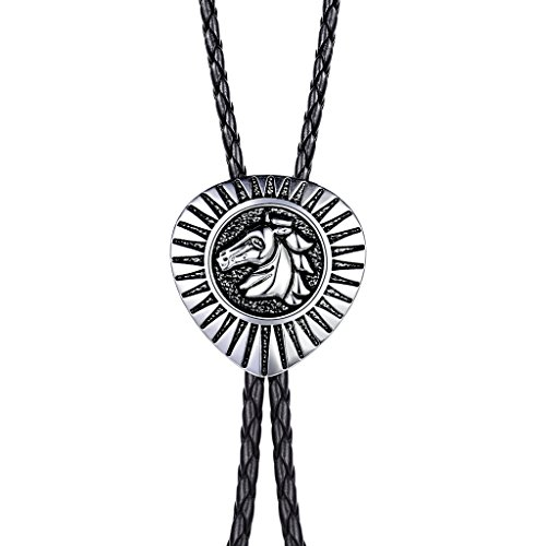 MASOP Pferd Bolo Tie Krawatte Western Cowboy Stil Schwarz geflochten Leder Halskette mit Schwarz Silber-Ton Titan Edelstahl Anhänger Ornament American Symbol für Herren Männer Jungen (Ereignis Männer Schuhe)