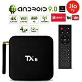 Profitech Communication® TX6 Allwinner H6 TV Box (4GB RAM 32GB ROM) with Android 9.0| LED Display| Dual Band WiFi LAN| Bluetooth| USB3.0| 4k Ultra HD| H.265 Decoding| Airtel TV Netflix YouTube and More