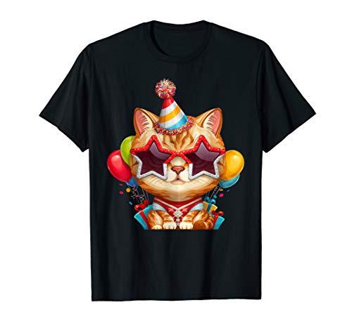 Rote Tabby-Katze mit Brillen BDay Party T-Shirt -